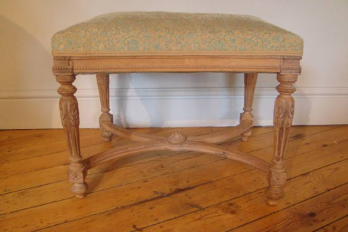 Small carved wood stool, 19thC French