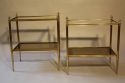 A pair of brass and mirror edge two tier end tables - picture 1