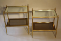 A pair of brass and mirror edge two tier end tables - picture 2
