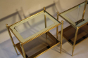 A pair of brass and mirror edge two tier end tables - picture 3