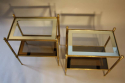 A pair of brass and mirror edge two tier end tables - picture 4