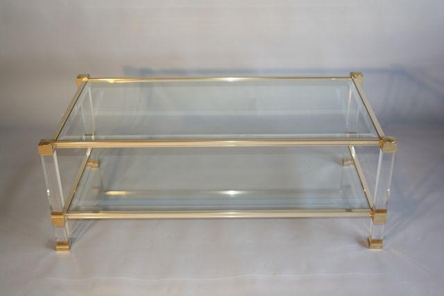 Pierre Vandel two tier lucite and glass coffee table