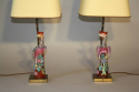 A pair of Chinese Famille Rose ceramic Phoenix bird lamps, French c1930 - picture 1