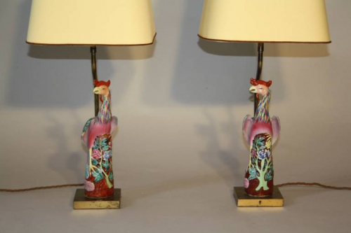 A pair of Chinese Famille Rose ceramic Phoenix bird lamps, French c1930