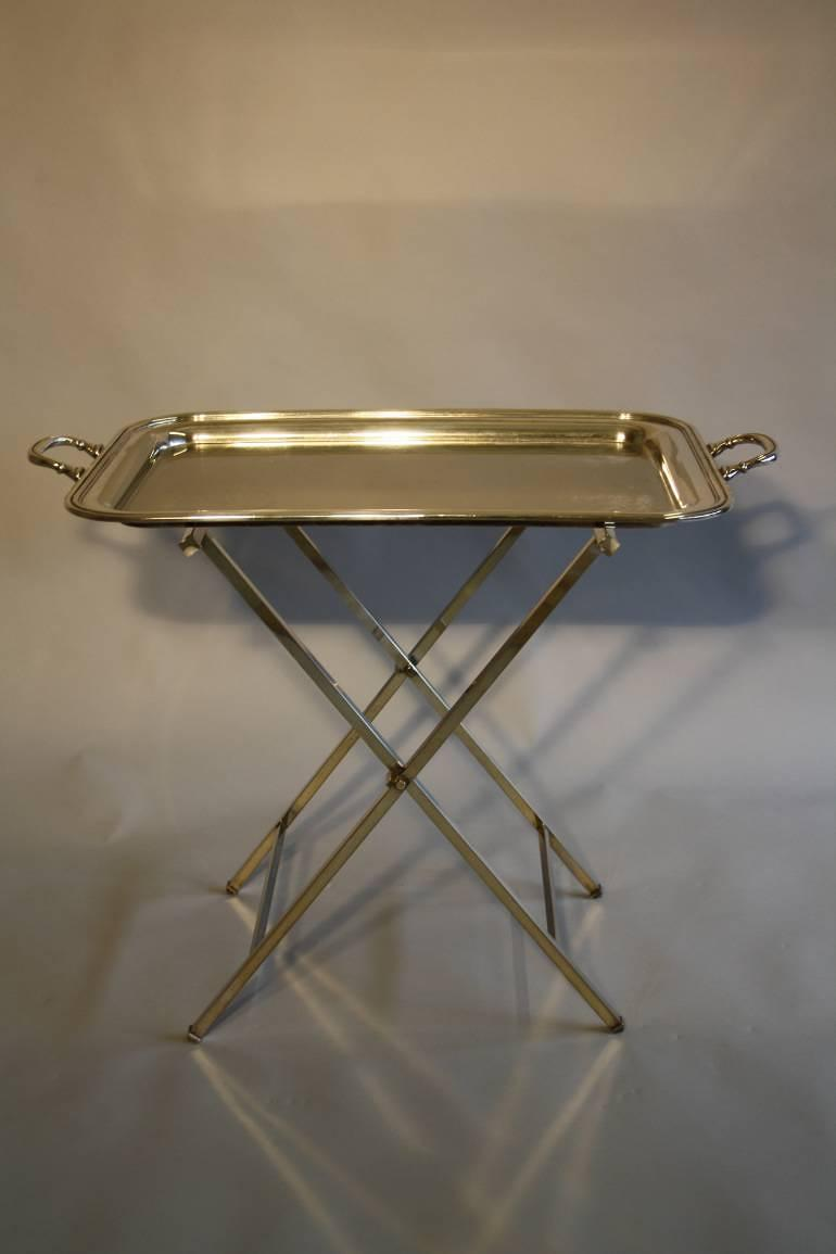 Silver plated tray table, French c1950