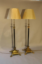 A pair of telescopic, brass lion paw floor lamps, English c1920 - picture 1