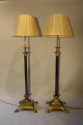 A pair of telescopic, brass lion paw floor lamps, English c1920 - picture 4