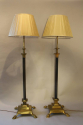 A pair of telescopic, brass lion paw floor lamps, English c1920 - picture 6