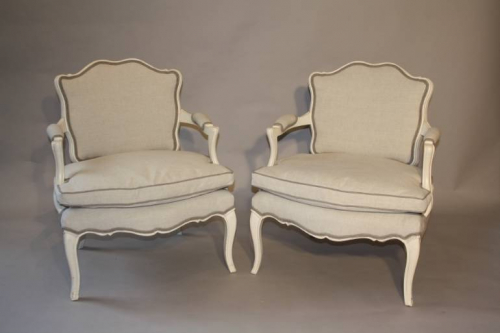 A pair of Antique French Napoleon III fauteuils, c1880