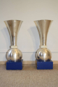 A pair of early modernist silver metal and onyx uplights on painted blue base, Italian c1930 - picture 1