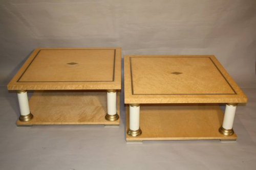 A pair of Italian burr maple end tables