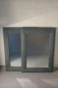 A pair of large pale blue mirrors made from 19thC architrave and fitted with antique bevelled mirror glass - picture 1