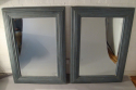 A pair of large pale blue mirrors made from 19thC architrave and fitted with antique bevelled mirror glass - picture 2