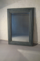 A pair of large pale blue mirrors made from 19thC architrave and fitted with antique bevelled mirror glass - picture 3