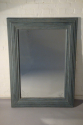 A pair of large pale blue mirrors made from 19thC architrave and fitted with antique bevelled mirror glass - picture 4