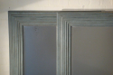 A pair of large pale blue mirrors made from 19thC architrave and fitted with antique bevelled mirror glass - picture 6