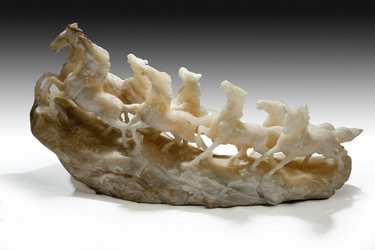 Carved onyx eight running wild horses, 1950`s Italian