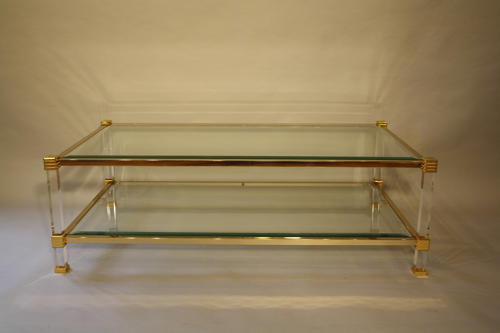 Lucite and gold metal two tier table