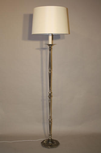 Octagonal base silver floor lamp