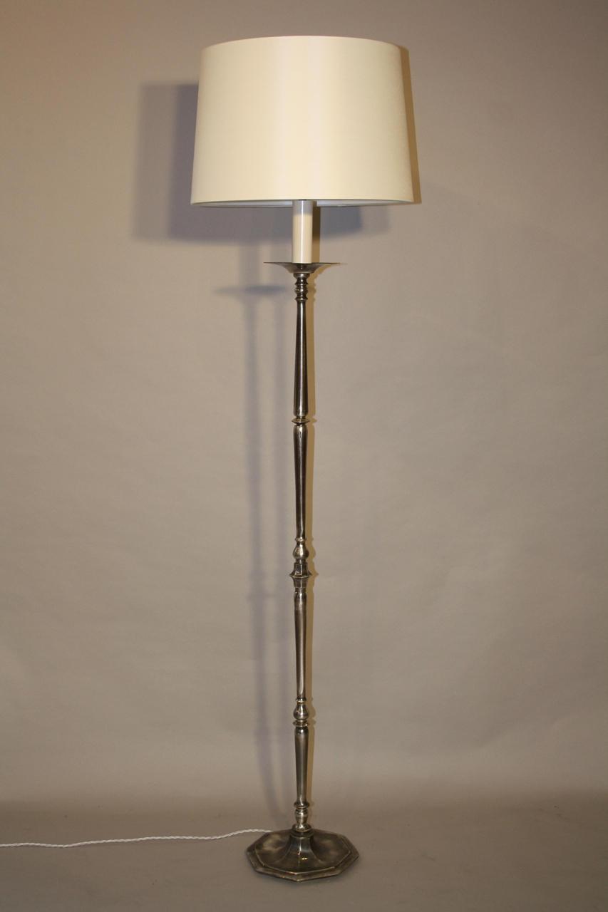 Octagonal base silver floor lamp
