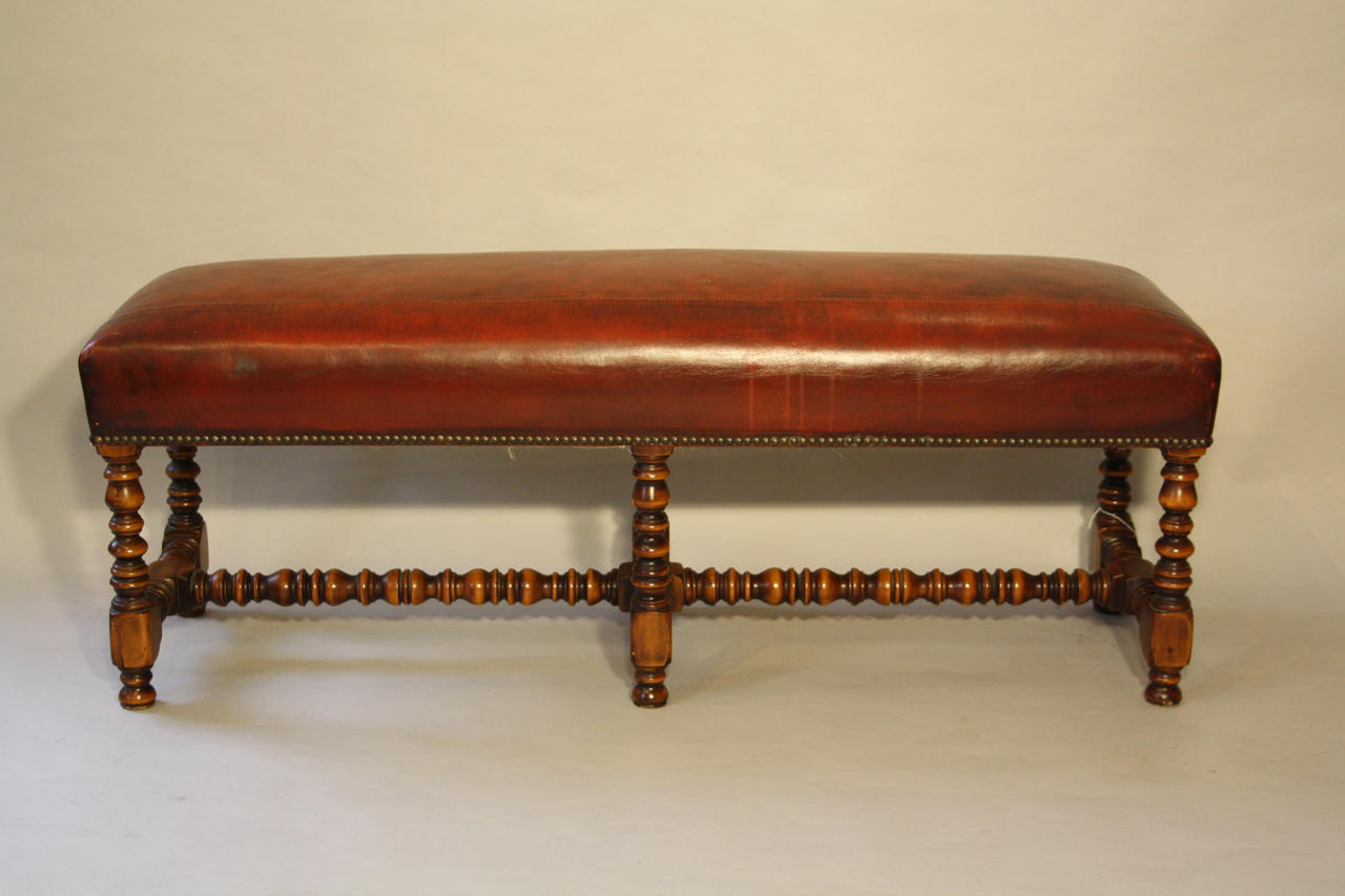 Valenti red leather bench