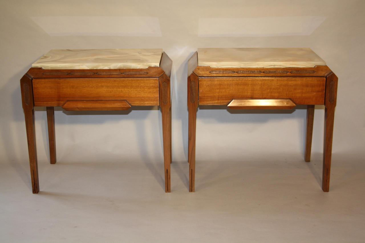 Onyx and walnut side tables