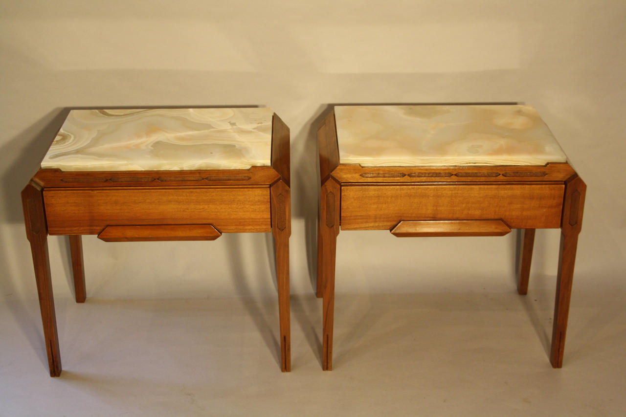 Onyx and walnut side tables in furniture for Email table design
