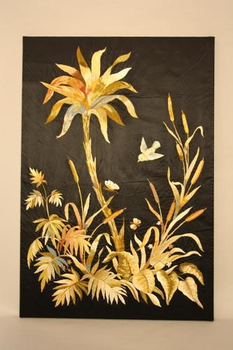 Hand embroidered silk panel