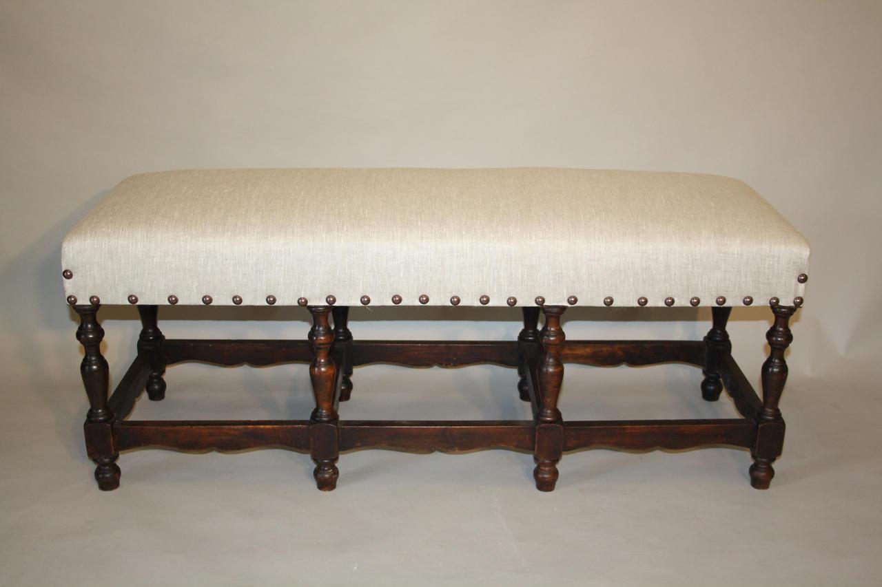 Dark wood turned bench seat