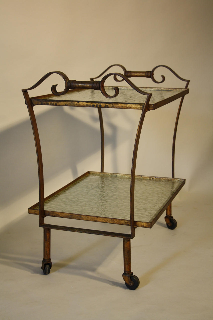 Gilt metal drinks trolley