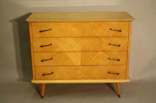1950's Herringbone inlaid wood chest of drawers