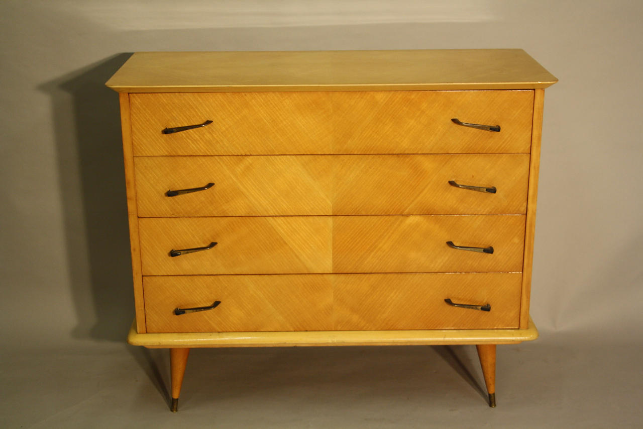 1950's Herringbone inlaid wood chest of drawers