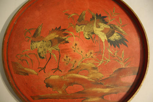Red lacquer Chinoiserie tray