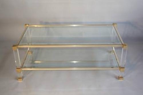 A large two tier Pierre Vandel coffee table