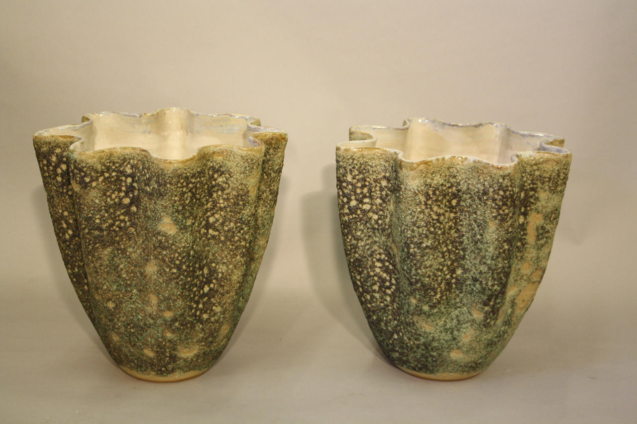Pair of hand thrown coil glazed vases