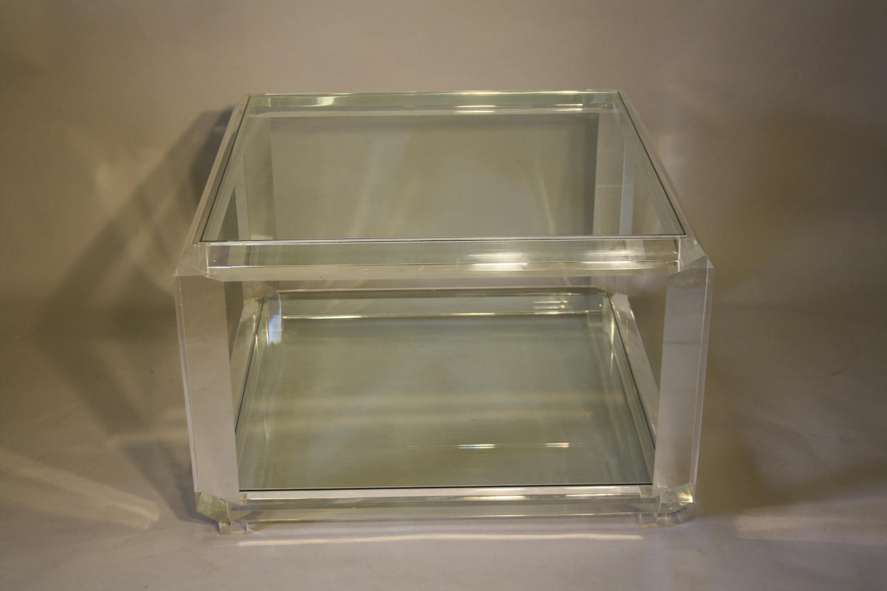 Square lucite and glass