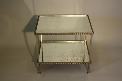 Silver metal and aged mirror glass side table