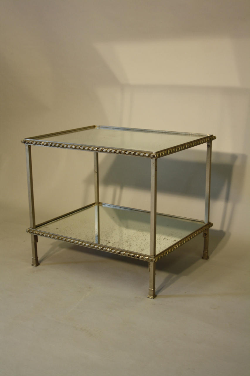 ... Silver Metal And Aged Mirror Glass Side Table   Picture 4 ...