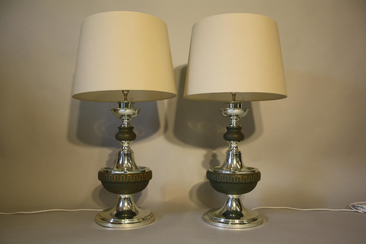 Pair of silver and green ceramic table lamps