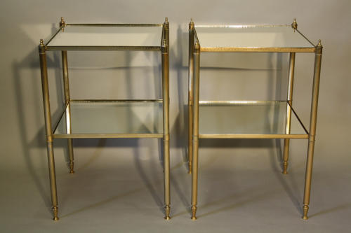 Pair of two tier mirrored end tables