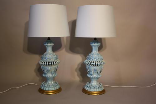 Pale blue glazed Casa pupo table lights