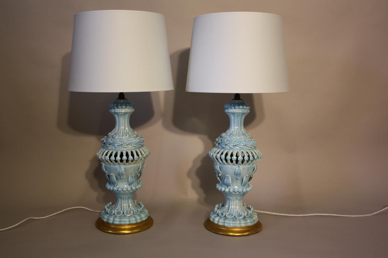 Pale blue glazed Casa pupo table lights