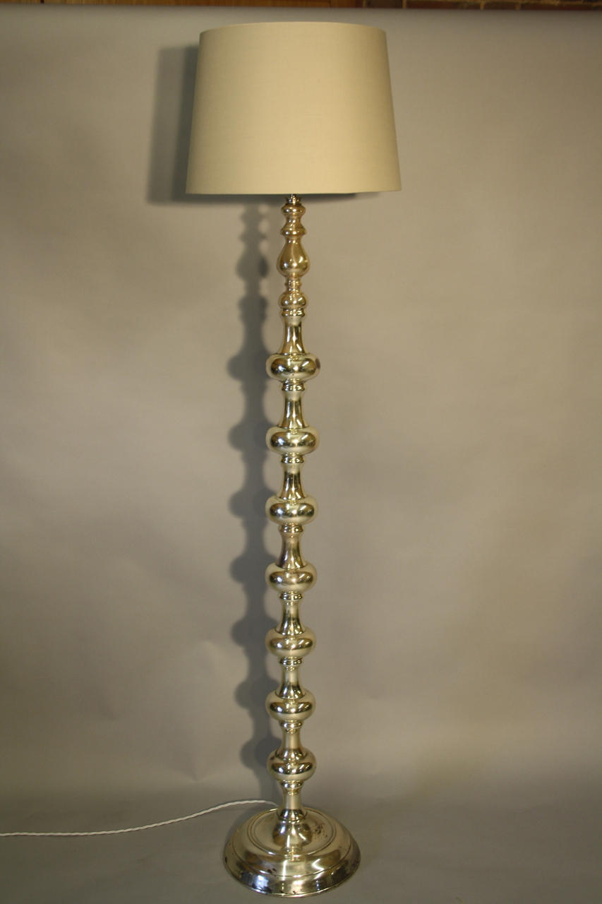 Tall silver bobble floor lamp