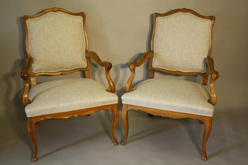 Pair of fruitwood armchairs