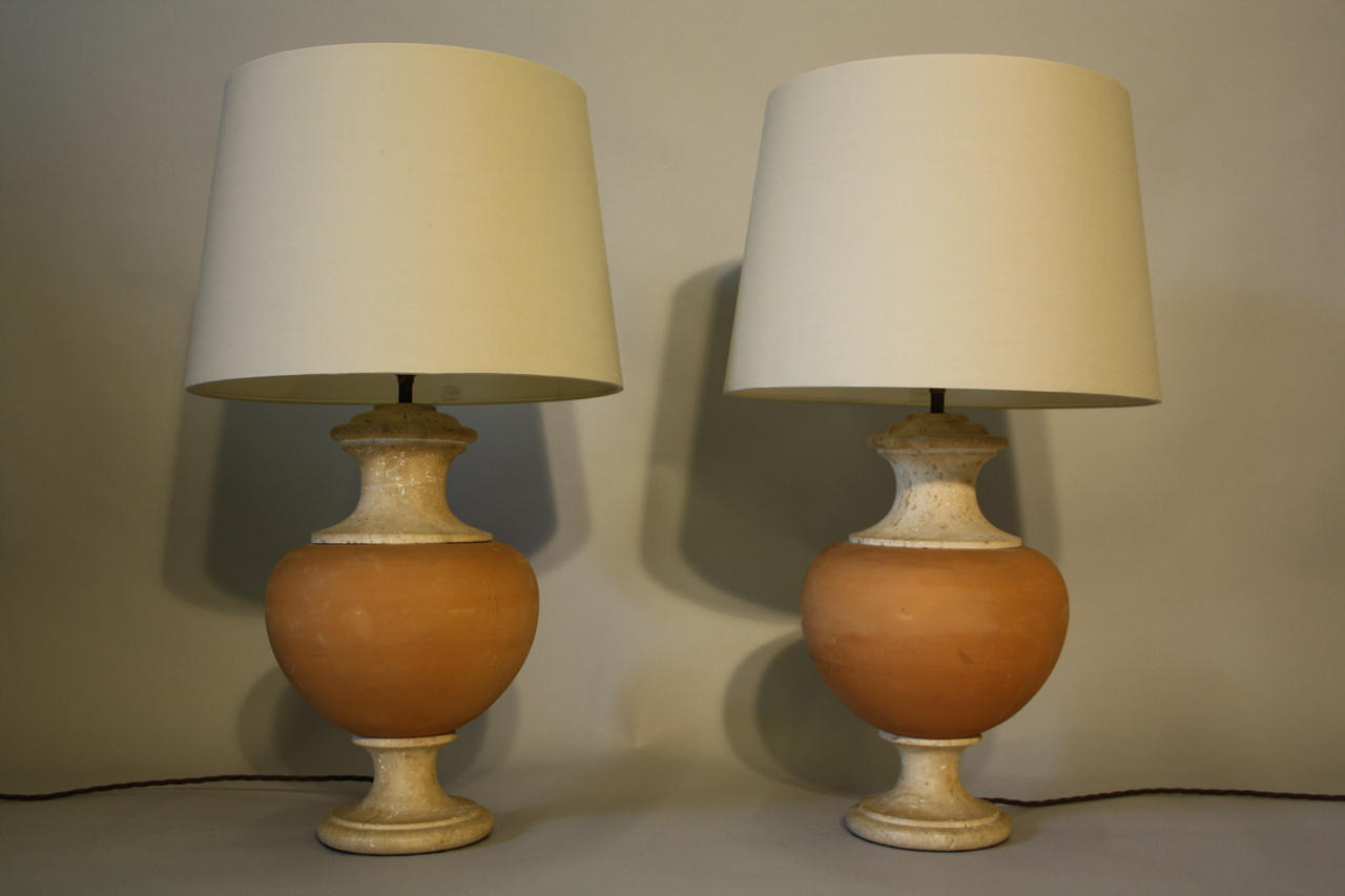 Terracotta and travertine table lamps