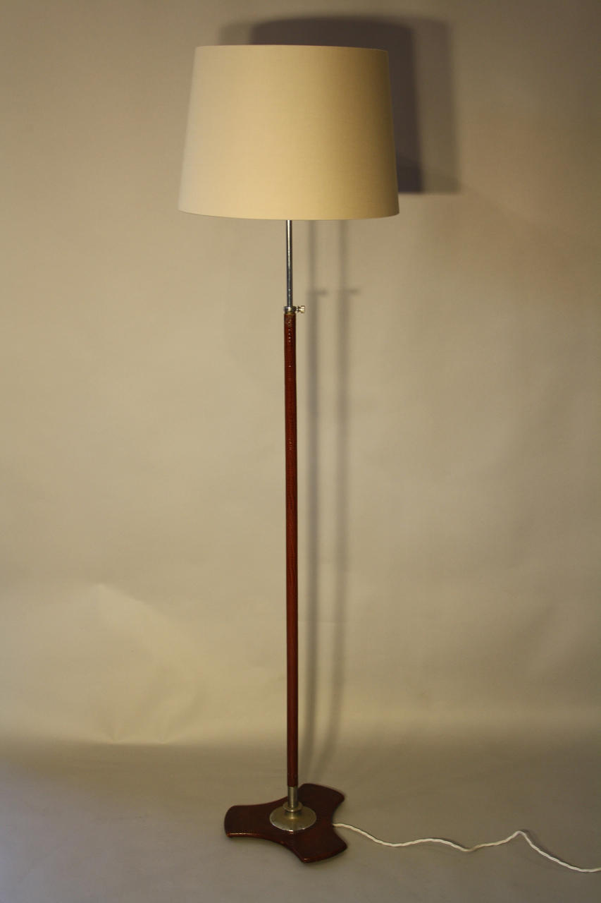 Leather covered floor lamp