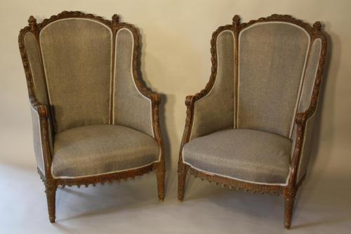 Carved Walnut armchairs