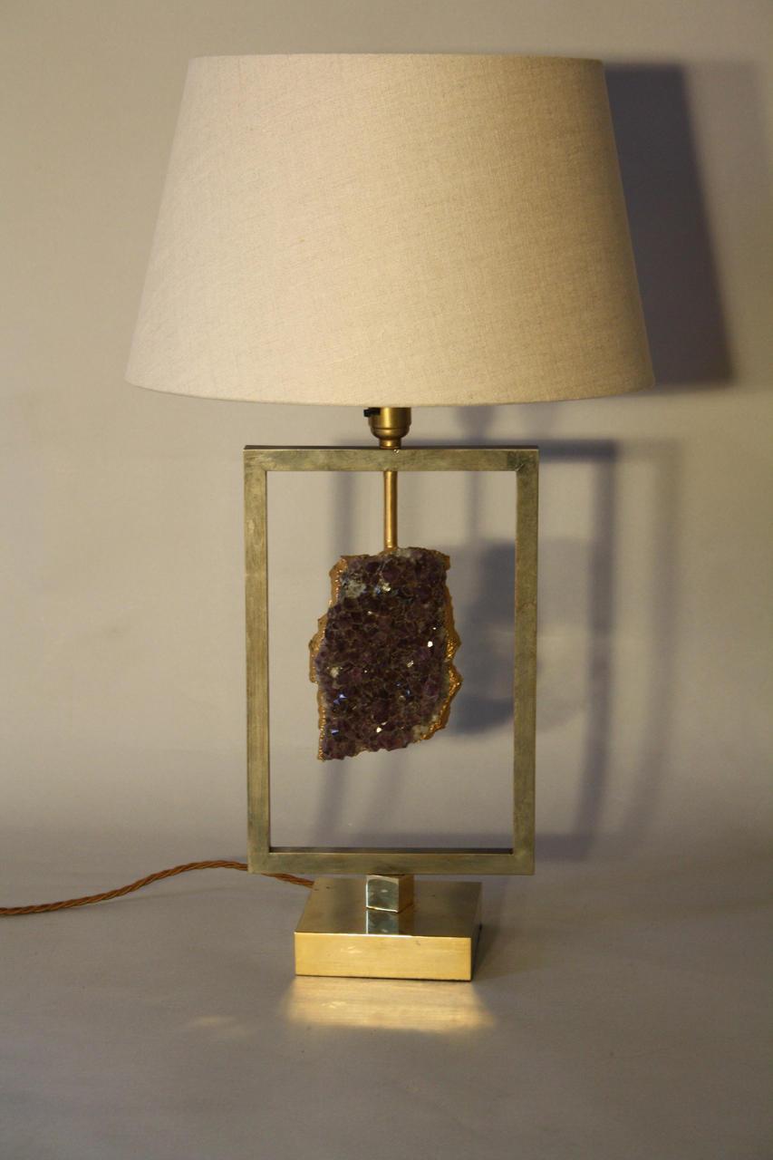 Amethyst stone lamp