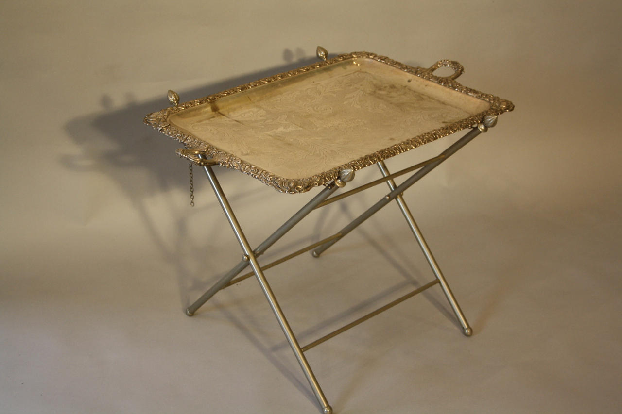 Victorian silver plated tray table