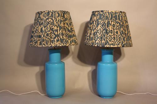 Pair of turquoise ceramic lamps